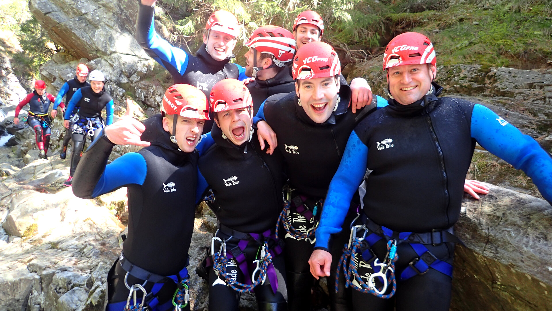 Group of Men on Stag party at base of Gorge